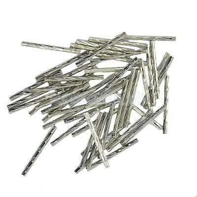 50pcs Engraved Straight Noodle Tubes Beads Jewelry Making Findings Silver