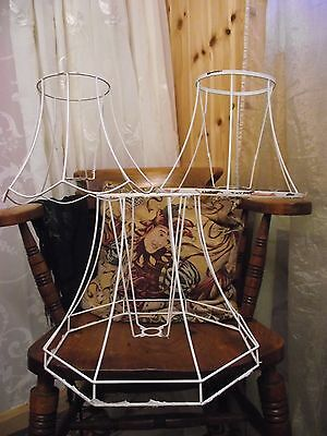 3 Vintage Light Shade Cages/frames For Upcycling Scalloped/large Octagon/oval