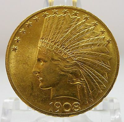 1908 gold $10 indian head, United States eagle, with motto, #64928-001