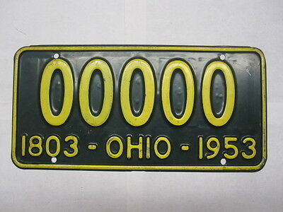 NICE 1953 Ohio  SAMPLE ZERO  License Plate Tag