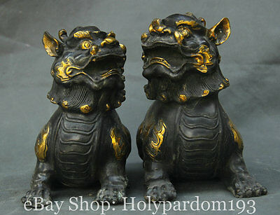 "7"" Chinese China Bronze Gilt Feng Shui Foo Fu Dog Guardion Lion Sculpture Pair"