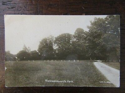 Early RPPC Postcard - Rickmansworth Park, Herts. 1920.
