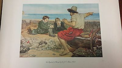 Authentic Antique Vintage Lithograph Print . 'THE BOYHOOD OF RALEIGH' -