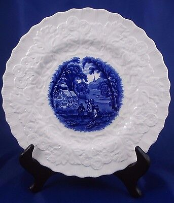 Beautiful Antique Alfred Meakin Blue & White Embossed Plate Scalloped Rim c 1907