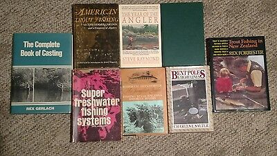 lot of 8 vintage fishing books Rex Gerlach casting year of the angler
