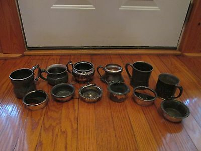 Lot of 6 Antique Silver/Quadruple Ashtrays