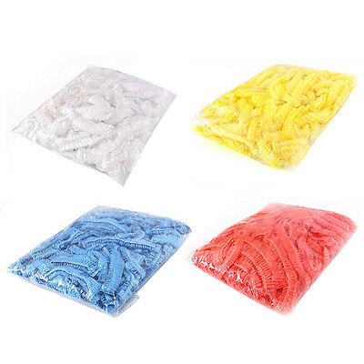 100pcs Disposable One-off Hotel Home Shower Bathing Clear Hair Elastic Caps Hats