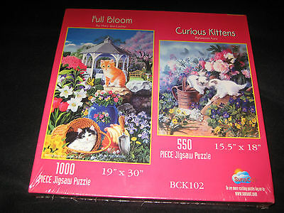 NEW  SUNSOUT PUZZLE 1000/500 piece jigsaw -   FULL BLOOM/CURIOUS KITTENS
