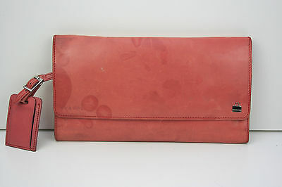 Billy Bag Leather Travel Wallet Large Pouch Pink Luggage Tag