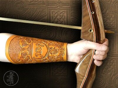 Hand Carved Leather Archery Bracer, Armguard. Bespoke Initials Scroll Design