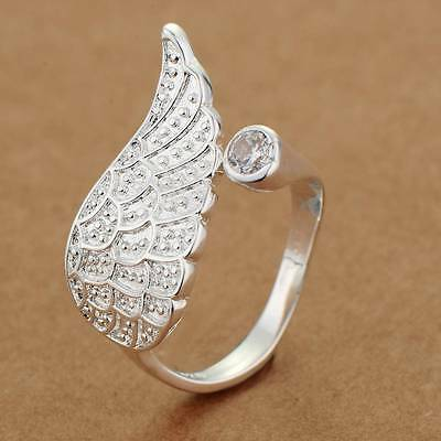 Sterling Silver 925 Plated Rhinestone Angel Wing Thumb BIG Toe Finger Ring R17