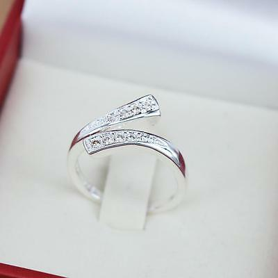 Sterling Silver 925 Plated Cubic Zirconia Wishbone Thumb Finger Wrap Ring R15