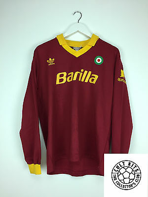 Retro ROMA 90/91 L/S Home Football Shirt (M/L) Soccer Jersey Serie A Adidas