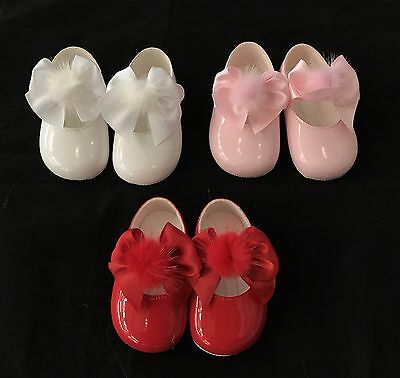 Gorgeous Baby Girl's Spanish Pram Shoes with Big Satin Bow & Fur Pom/OneSupplied