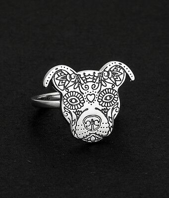 Sugar Skull Pit Bull Sterling Silver Ring in Sizes 5 6 7  - NEW - FREE SHIPPING