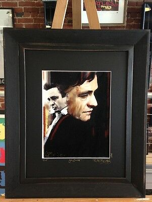 Johnny Cash Artist Original Painting Gallery Matted and Framed Artist Signed