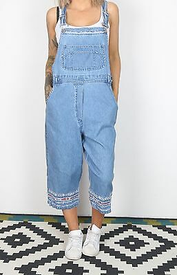 Dungarees UK 16 XL Fitted  Oversized 14 Large Denim Mid Blue  3/4 (L2K)