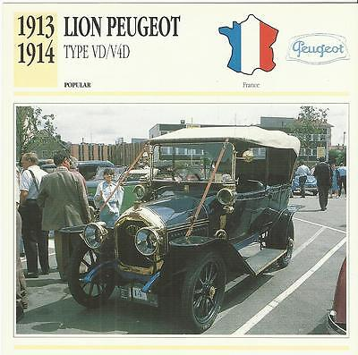 LION PEUGEOT TYPE VD V4D 1913-14 original 2-sided Edito collectors trading card