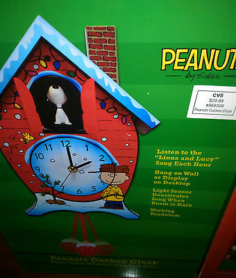 """Peanuts Charlie Brown & Snoopy Christmas Musical Cuckoo Clock """"Linus and Lucy"""""""