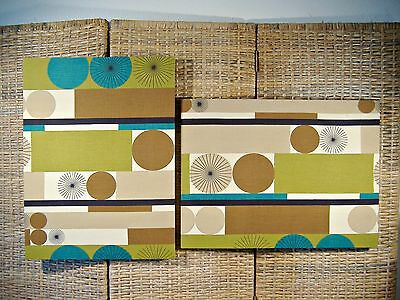 Mid Century Modern Screen Print Pair Vintage Geometric Textile Art Wall Hanging