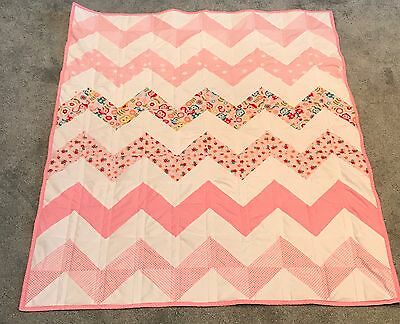 New Beautiful handmade Quilted Cot Blanket Baby girl Pink Nursery Patchwork