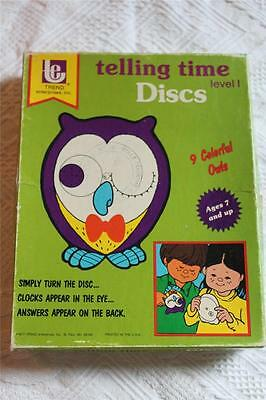 1977 Trend Telling Time Discs Level 1 Owls Teaching Homeschooling