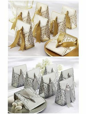 10PCS Silver Wedding Favor Sweet Cake Gift Candy Boxes Bags Anniversary Party