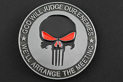 The Punisher God Will Judge Our Enemies Belt Buckle  Marvel Comic Book Movie