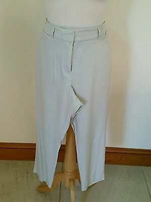 Marks & Spencer Size 12 Beige Cropped Linen Blend Trousers Excellent Condition
