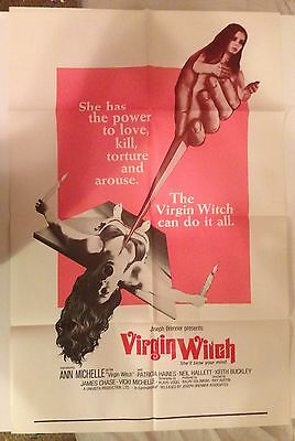 Virgin Witch vintage original theatrical movie poster grindhouse occult RARE