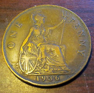 1936 British Penny George V Coin
