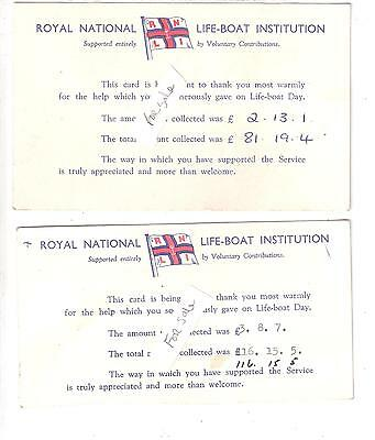 Two Royal National Life-Boat Institution Collection Receipt Postcards 1961 & 64