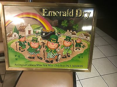 Vintage Emerald Dry Wine by Paul Mason Advertising Mirror Leprechaun St Pattys