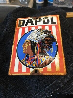 Vintage Dapol Indian Chief Motor Oil Gas Sign Porcelain & Steel Sign lube Plate