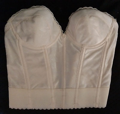 Vintage Wynette by Valmont Ivory Nylon Wire Free Boned Strapless Bra Corset 34B