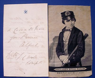 Prince Alfred,s Letter Signed And Silk Print Son Of Queen Victoria