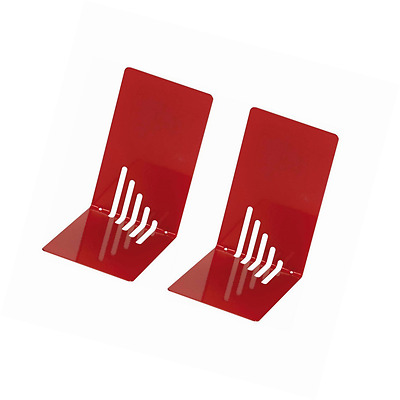 Wedo 1021002 Metal Bookend, 14 x 8.5 x 14 cm, Set of 2, Red
