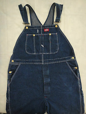 Dickies Bib Overalls ~ 44x32 ~ Carpenter Style ~ Button Fly ~ Blue Denim