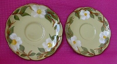 """2 Stangl White Dogwood Coffee Cup Saucers Hand Painted Mid Century 6"""" LOT"""
