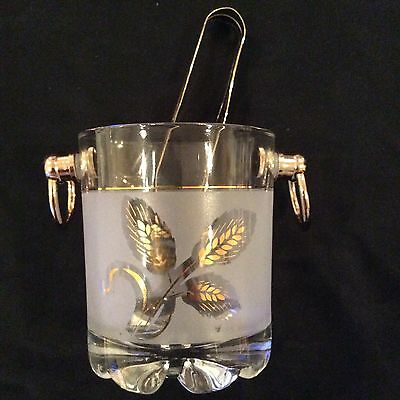 Made In Italy/Italian Glass Ice Bucket With Tongs