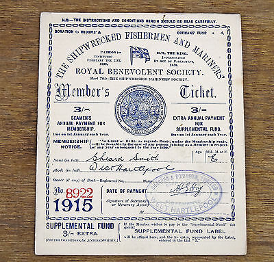 Antique Shipwrecked Fisherman Mariners Society 1915 Members Ticket