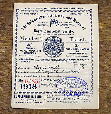 Antique Shipwrecked Fisherman Mariners Society 1918 Members Ticket