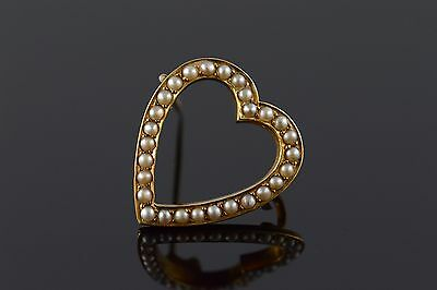 14K Victorian Seed Pearl Heart Outline Pin/Brooch Yellow Gold