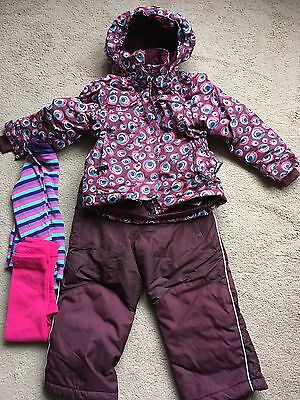 Girls Ski Outfit, Salopettes, Jacket And Thermals Age3-4