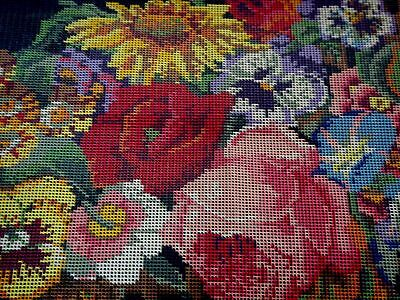 Ehrman Rare Large Tapestry Canvas & Wool For Flower Trellis Cushion Discontinued