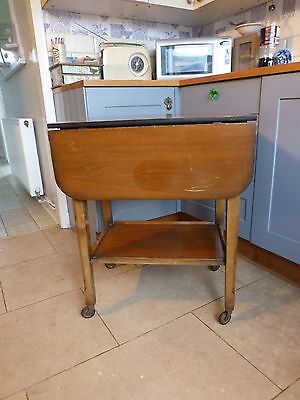 MID CENTURY WOODEN KITCHEN DRINK SERVING TROLLEY DROP LEAF ON CASTORS Collect