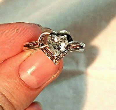 Sterling Silver Heart Ring with White Topaz Stone and Diamond Accents