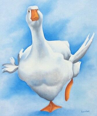 goose geese original oil painting by artist Lizzie Hall