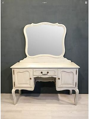 Vintage French Louis Style Painted Oak Dressing Table Desk