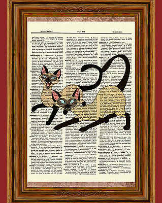 Siamese Cats Lady and the Tramp Dictionary Art Print Poster Picture Disney Si Am